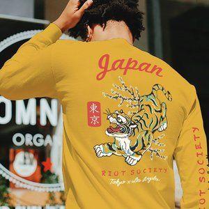 New RIOT SOCIETY Tiger Blossom Mens T-Shirt